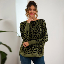 High Womens Long Sleeve Leopard Print Sweater Irregular Hem Casual Pullover Sweater DSM raw hem geo pattern crop sweater