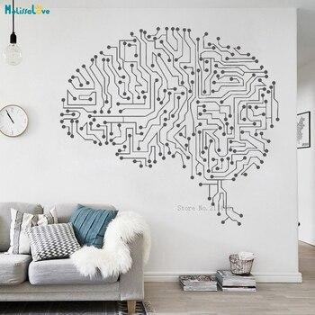 Ordenador abstracto cerebro mente vinilo calcomanía pared arte pegatinas estudio decoración del hogar sala de estar extraíble murales regalo único YT2211