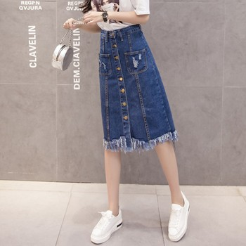 Button Front Midi Denim Skirt for Women Casual High Waist Fray Hem with Pocket Knee Length Jeans Skirt 2020 boys solid tee with rolled hem jeans