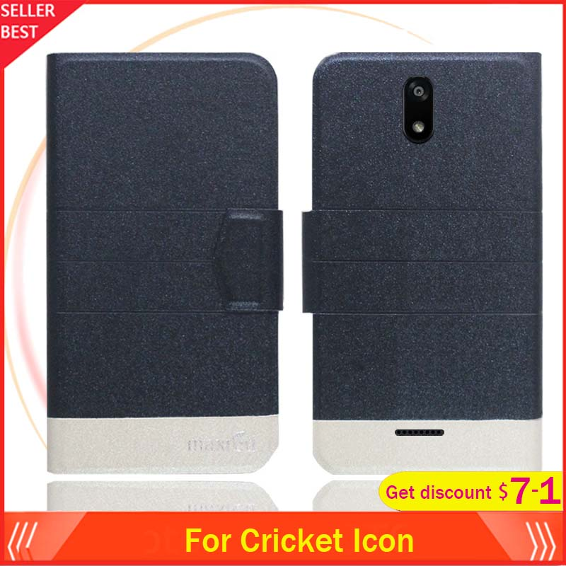 Cricket Icon Case 5.5 Flip Ultra-thin Leather Exclusive Phone Cover Fashion Folio Book Card Slots image