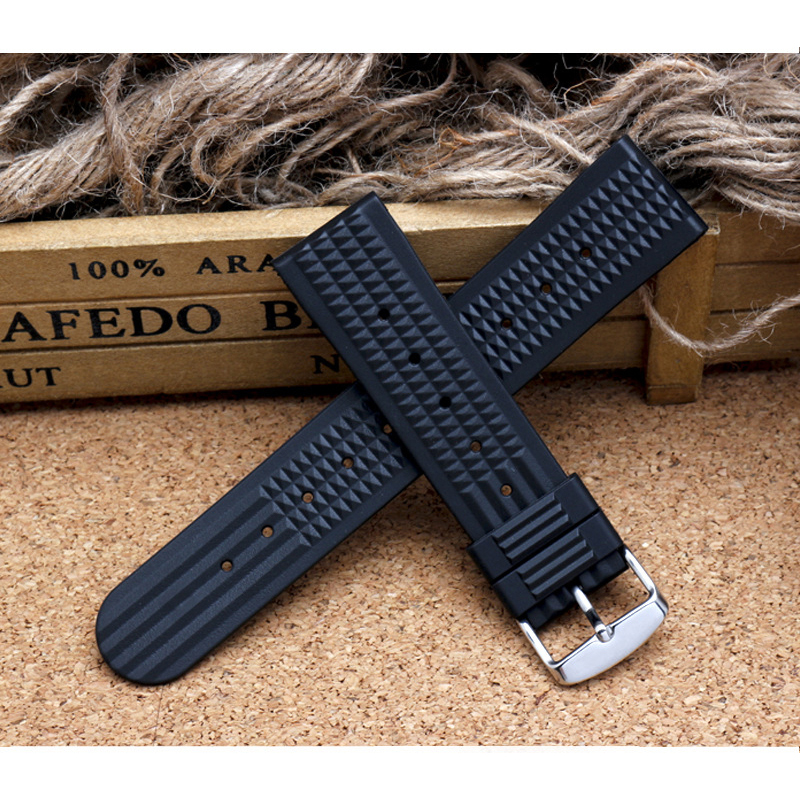 For Sharkey MM300 SBDX001/012/01 6105 SOFT Rubber Waffle Watch Band 20MM 22MM DIY Replace