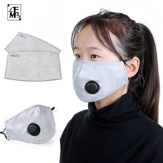 [LFMB]Fashion Unisex Cotton Breath Valve PM2.5 Mouth Mask Anti-Dust Anti Pollution Mask Cloth Activated carbon filter respirator