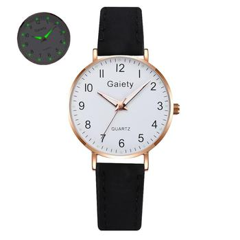 2021 NEW Women Watches Simple Vintage Small Watch Leather Strap Casual Sports Wrist Clock Dress Wristwatches Reloj mujer - G667-BK