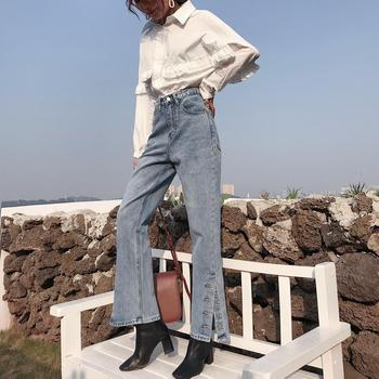 Jeans 2020 new retro high waist washed female wide loose fork nine points straight pants tide фото
