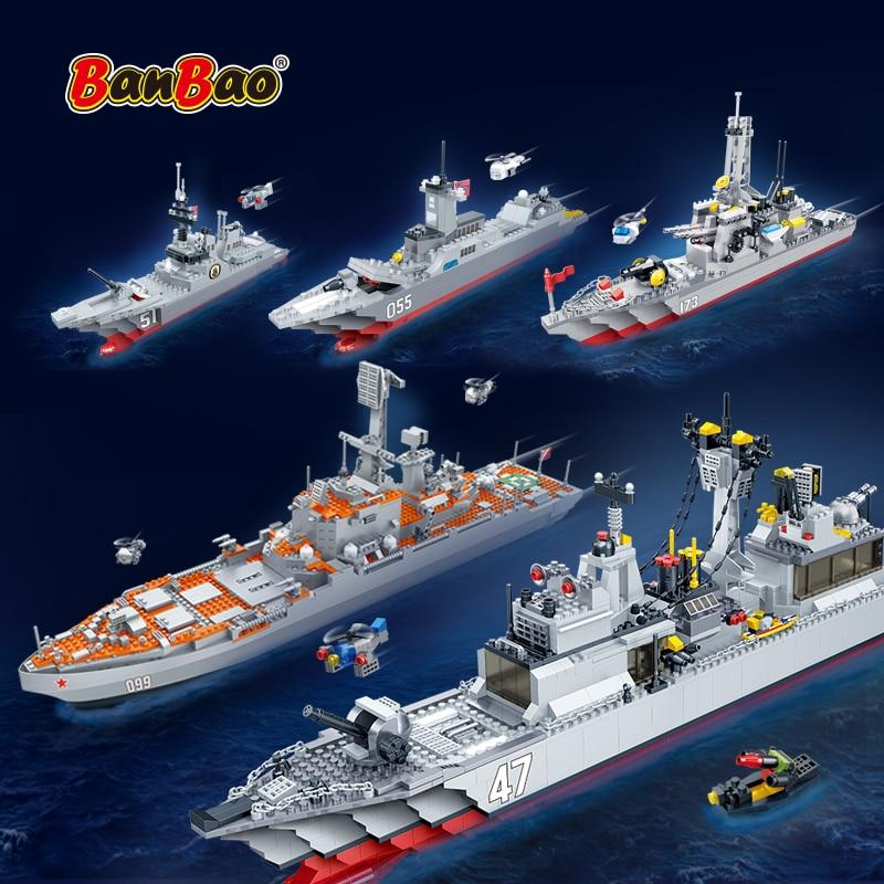 BanBao Military World War 2 Battleship Warship Soldier Weapons Navy Submarine Sets WW2 Building Blocks Educational Toy Kids Gift
