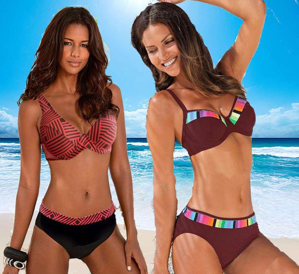 Tengweng 2020 Bikini Push Up Bandeau Print Floral Swimsuit Plus Size Swimwear Halter Beach Cut Out Brazilian Female Bathing Suit