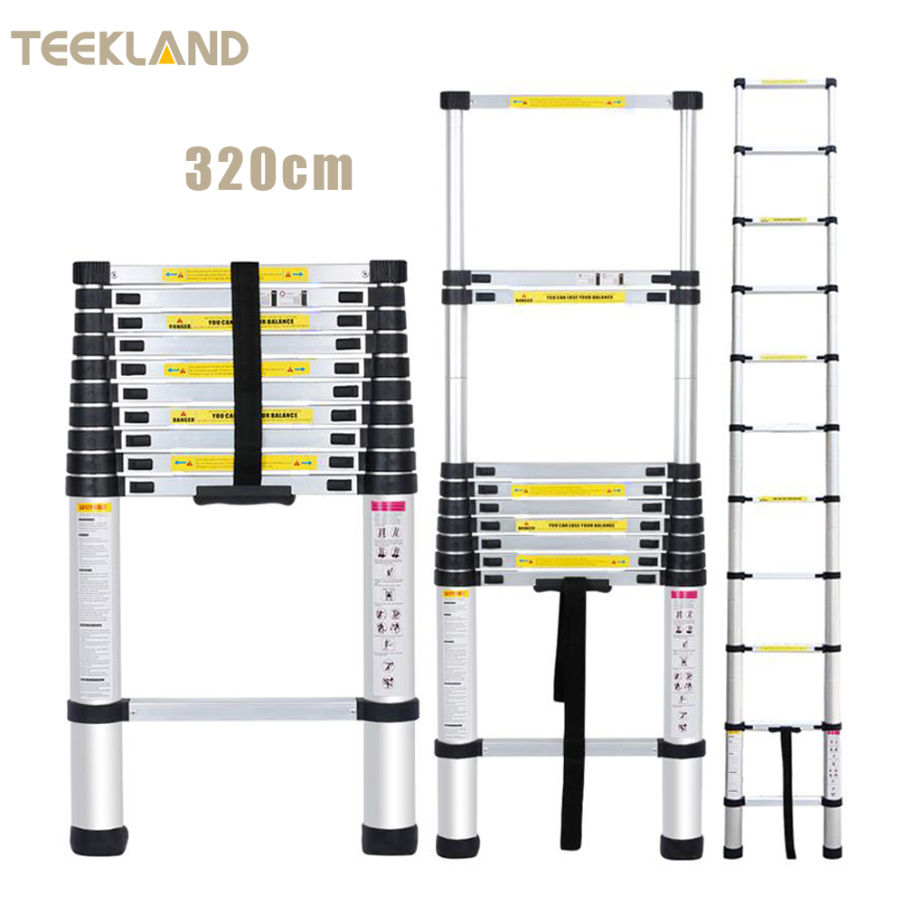 320cm Quality Portable Foldable Ladder Multi-Purpose Aluminum 11 Steps High Capacity For Home  Use Stretchable Ladders US Stock