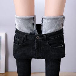 Jeans de inverno para as mulheres de ouro fleeces grosso veludo calças jeans magros cintura alta estiramento denim lápis calças