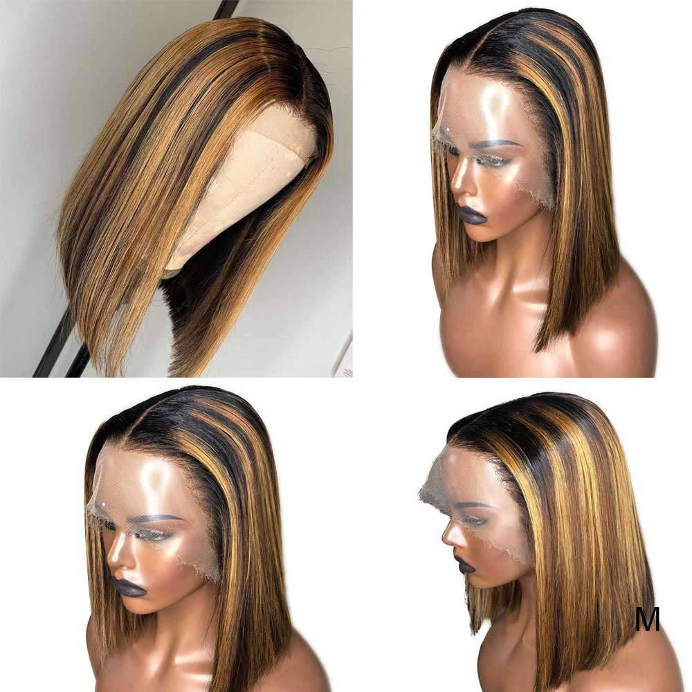 13X6 Deep Part Lace Front Human Hair Wigs Straight Pre Plucked Brazilian Remy Ombre Honey Blonde Colored Highlight Short Bob Wig