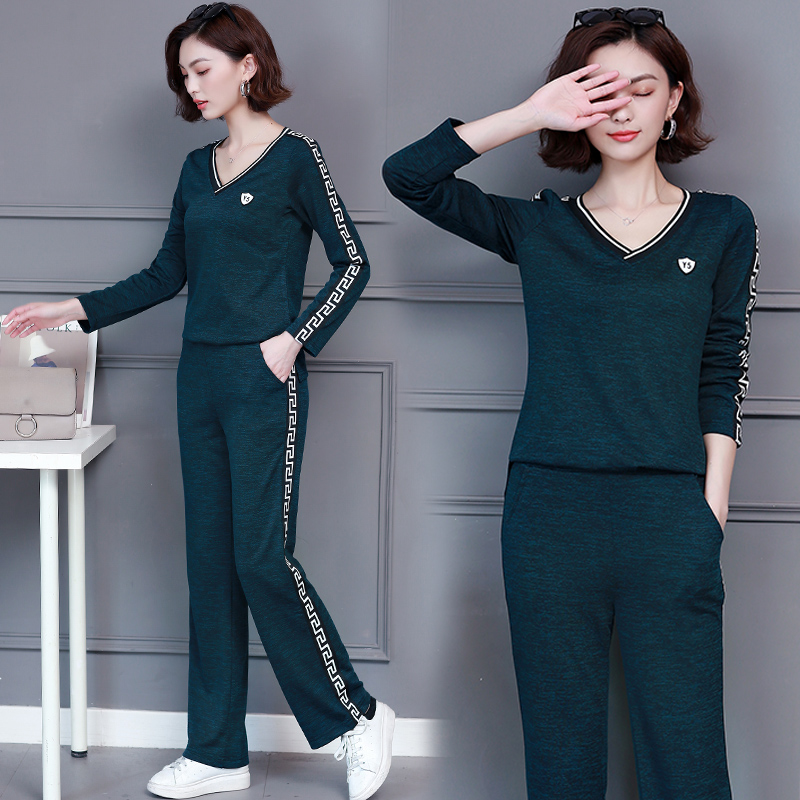 Tracks for Women Outfit Sportsuit Co ord Set 2 Piece Set Top and Pant V Neck Suits Plus Size 2019 Winter Autumn 2pcs Clothing in Women 39 s Sets from Women 39 s Clothing