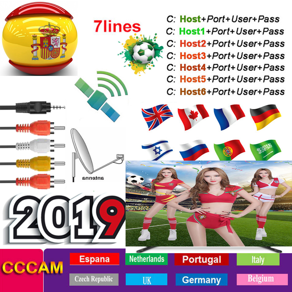 Cccam Europa 1 an espagne Portugal allemagne pologne Satellite tv récepteur 7 Clines Europe pour DVB-S2 X800 X800S V7 v7s v8 nova V9