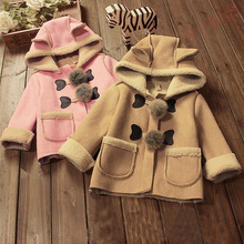 New Girls Faux Suede Fur  Coat Cute Hooded Fleece Jacket Kids Autumn Winter Outfits Children Thicken Clothes Warm Outerwear
