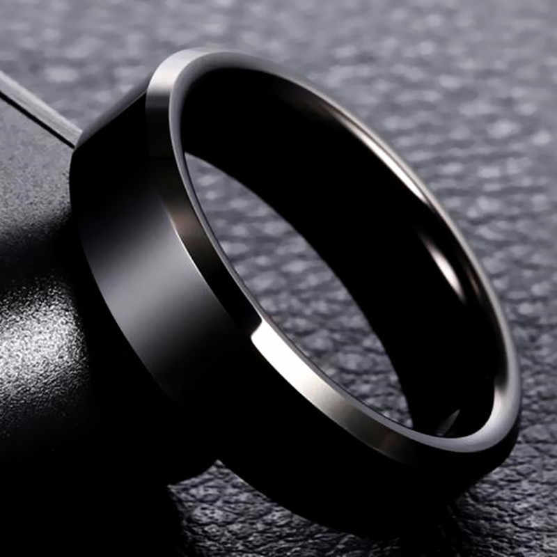 8mm Brand Men Black Ring Titanium Stainless Finger Rings For Women Silver Gold Rings Lover Couple Quality Valentine's Day Gifts