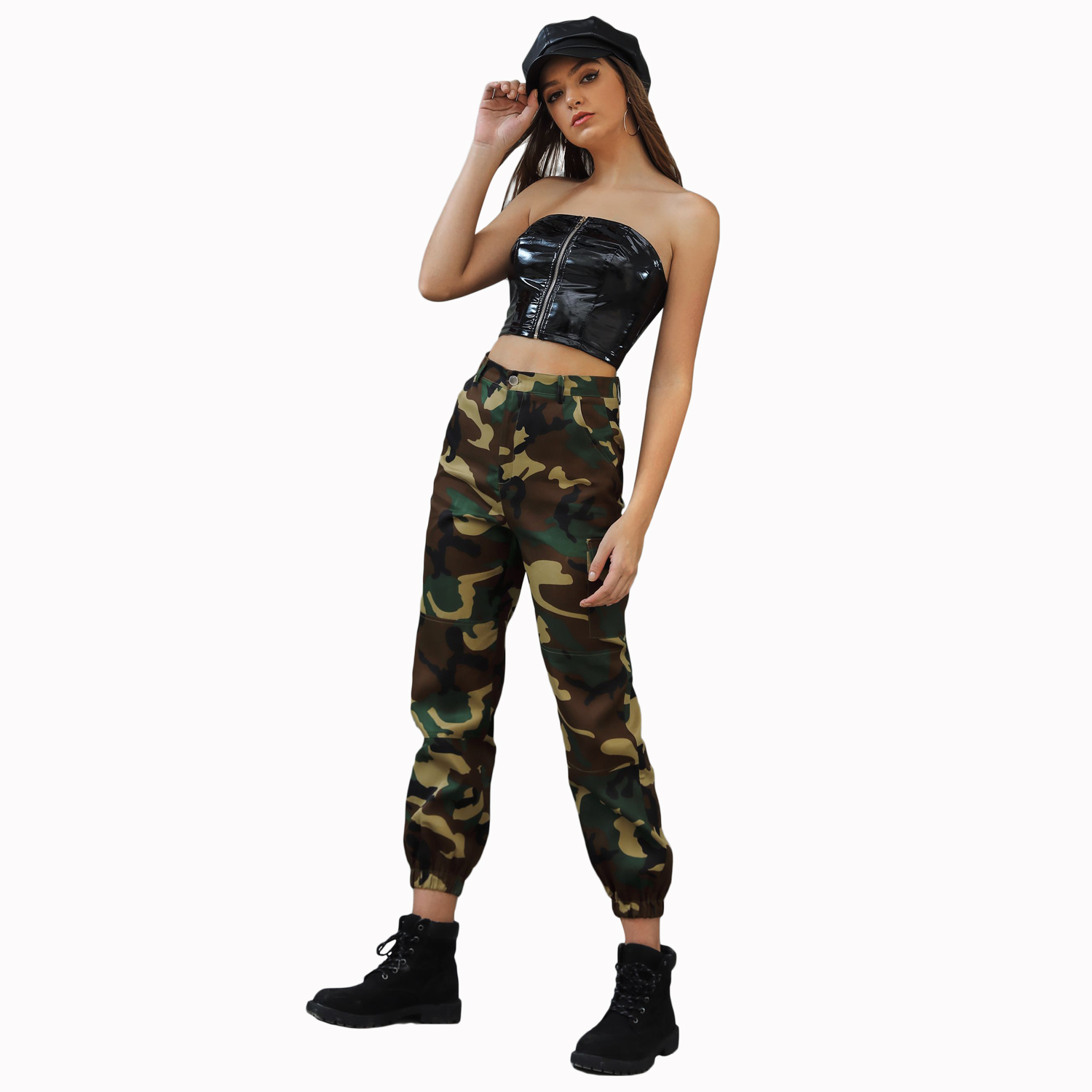 Cargo   Pants   Women 2019 Autumn Camouflage   Pants   Harlan Camouflage Drawstring Mujer Loose Karka Female High Waist Pocket   Capris