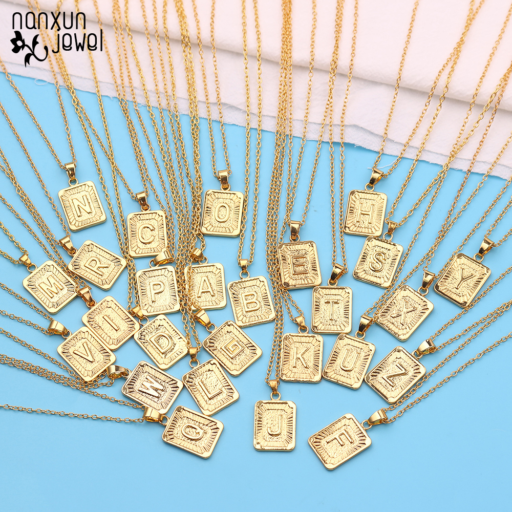Initial A-Z 26 Letter Pendant Necklace Gold Color Chain Unisex Charm Luster Medal Capital Letter Necklace Women Men Jewelry Gift