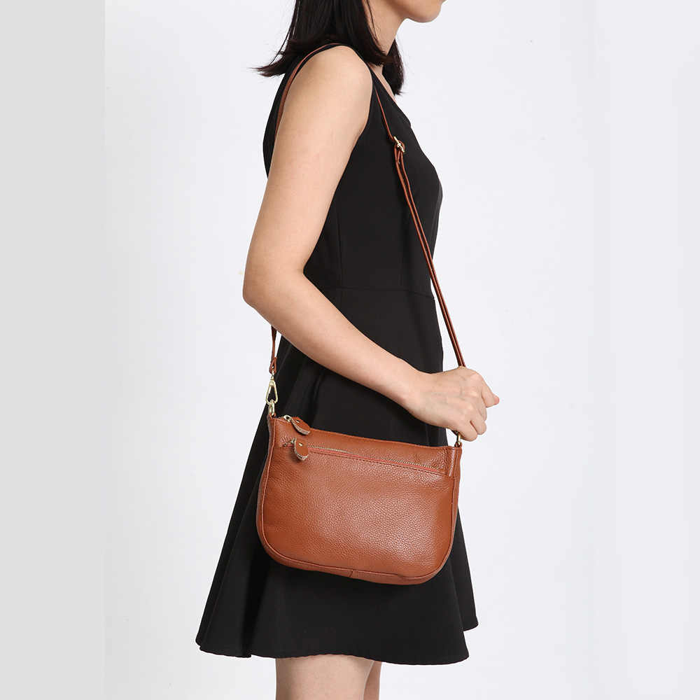 Zency Moda Mulheres Sacos Crossbody Saco 100% Bolsa do Couro Genuíno Marrom Pequena Aba Simples Senhora bolsa de Ombro Bolsa saco do Mensageiro