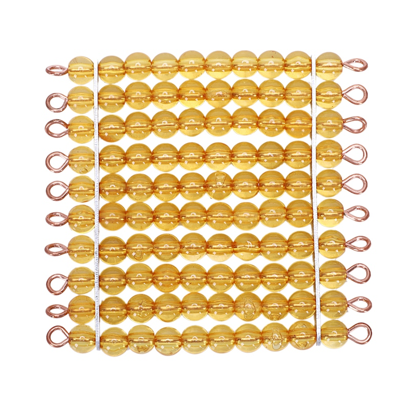 Materials Golden Beads Mathematics Teen Bead Chain Toy Early Educational Training Learning Gift Golden Hundred Tablets