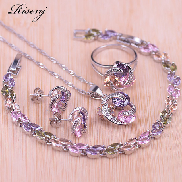 Risenj Big Discount Colorful Lucky Circle Silver Color Jewelry Set For Women Earrings Ring Necklace Drop Shipping T28 1