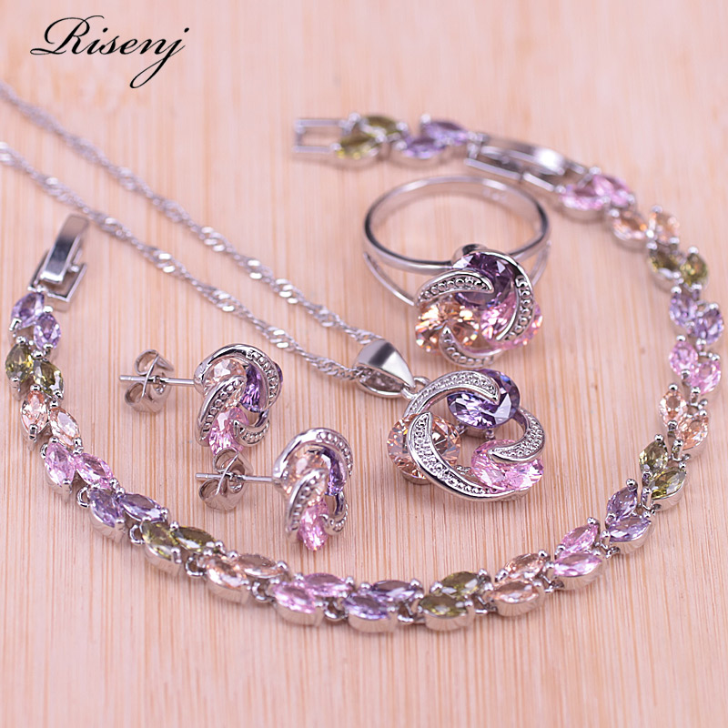 Risenj Big Discount Colorful Lucky Circle Silver Color Jewelry Set For Women Earrings Ring Necklace Set With Pendant In Store