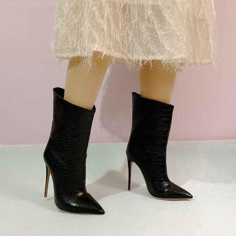 2019 Nieuwe Merk Vrouwen Laarzen Mode Super Hoge Hakken Enkellaars Kunstleer Herfst Wees Teen Laarzen Winter Vrouwelijke Kalf laarzen