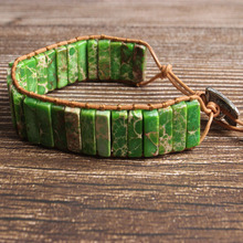 LanLi natural Jewelry cuboid green The emperor stone knit  bracelet men and women Giving presents self use