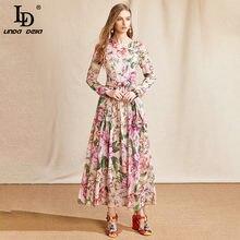 LD LINDA DELLA Designer Summer Chiffon Dress Women manica lunga Bow Flower Print Fashion elegante Party Vintage Lady Midi Dress
