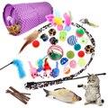 Красочные кошка собака игрушки для домашних животных комплект разборный туннель с 4 отверстиями играть трубы шары перо в форме мыши для дом...