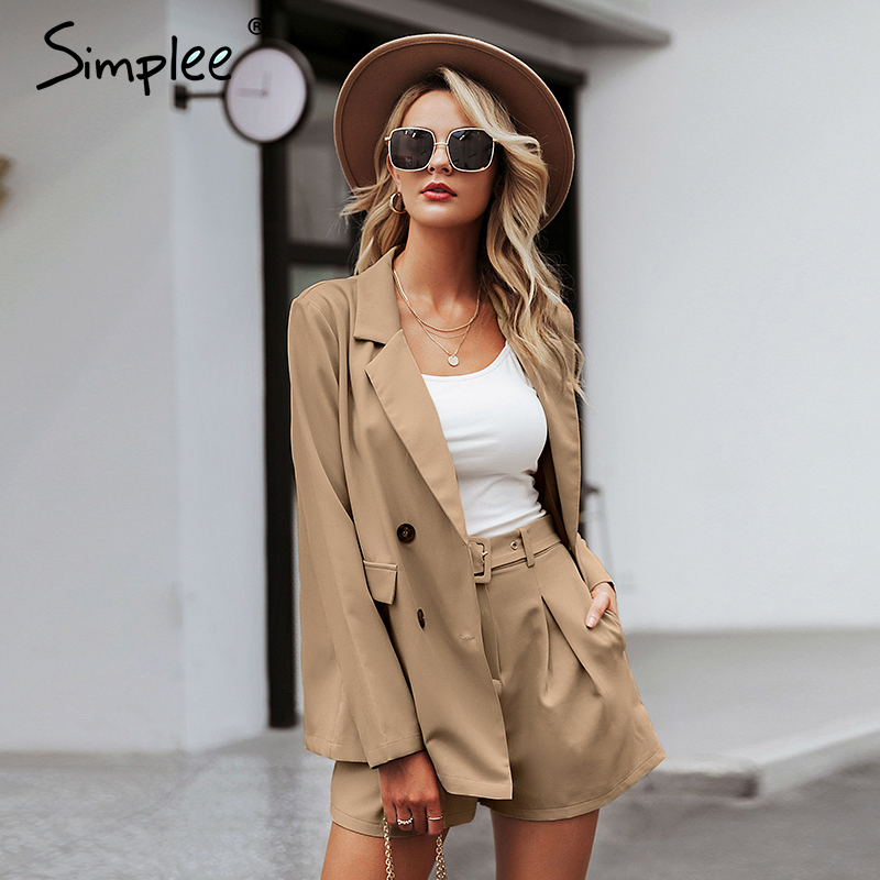 Image 5 - Simplee Elegant two piece office ladies blazer suits Buttons pockets sash belted women shorts suit Casual streetwear blazer setsWomens Sets   -