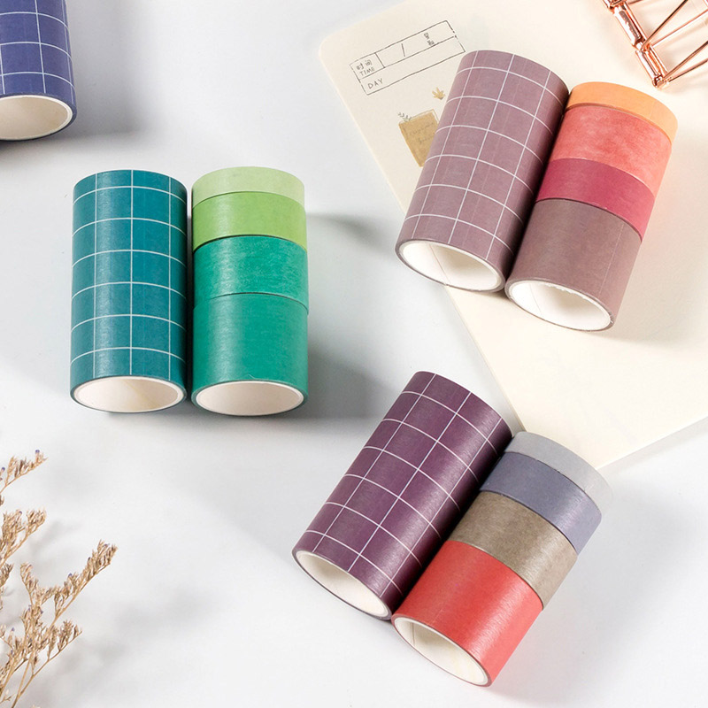 5 Pcs/Set Cute Grid Washi Tape Kawaii Solid Color Masking Tape Decorative Tape For Sticker Scrapbooking Diary Stationery Tape