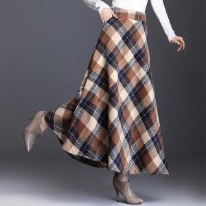 Image 3 - HAYBLST marka etek kadın 2019 sonbahar kış artı Size3XL zarif kore tarzı moda ekose uzun bel uzun giyim kalınlaşma