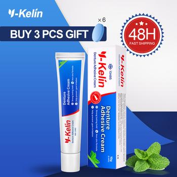 Y-kelin klej do protez dentystycznych 40g mocny klej do protez dentystycznych do pełnego i częściowego klejenia sztuczne zęby krem do mocowania protez tanie i dobre opinie Proteza Kleje
