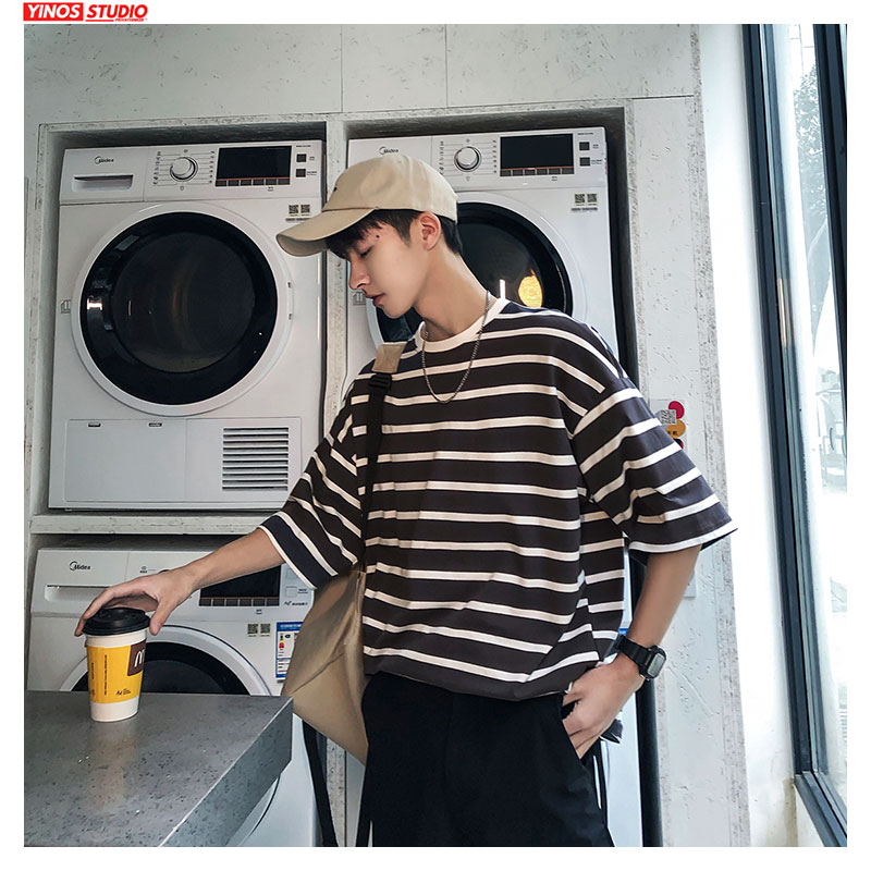 Dropshipping Korean Harajuku Short Sleeve Tshirts  Men Streetwear Causal Tops  2020 Spring Striped T-shirt