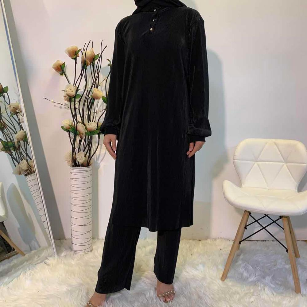 High Quality New Pleated Muslim suits female Solid Color Two pieces glossy Tops +Pants Malaysia Singapore Turkey Clothing F1882
