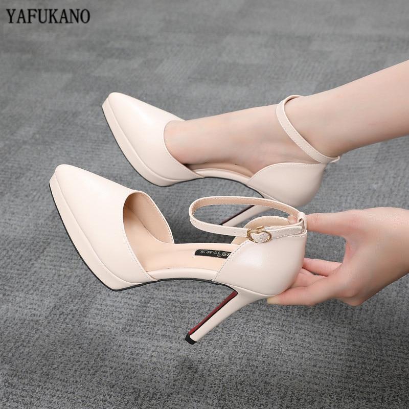 Женские босоножки с ремешком на щиколотке 10 см, туфли-лодочки на платформе с острым носком, туфли из матовой кожи на высоком каблуке, размеры...