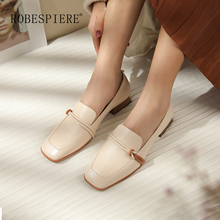 ROBESPIERE New Brown Square Heel Loafers Quality Genuine Leather Toe Shoes Woman Casual Mixed Color Shallow Pumps A30