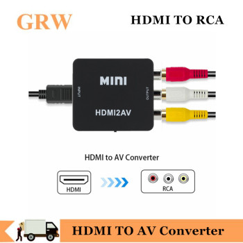 New Arrival HDMI TO AV Converter HD Video Converter Box HDMI to RCA AV/CVSB L/R Video 1080P Mini HDMI to AV Support NTSC PAL цена 2017
