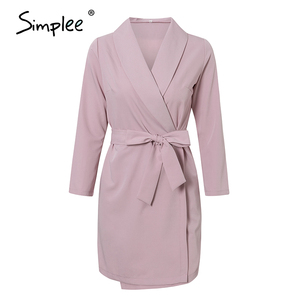 Image 5 - Simplee Elegant v neck office dress Plus size solid sash high waist long sleeve blazer dress Casual spring chic bodycon dress