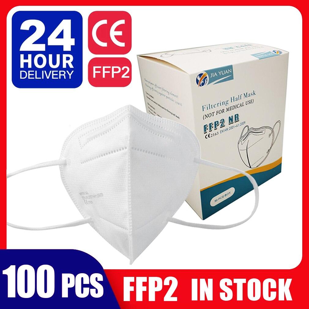 Dropshipping FFP2 Rosto Máscara Protetora Máscara Anti-Bacteriano FFP2 Aprovado Pela CE Mascarillas Máscaras de короновируса 100 Em Estoque