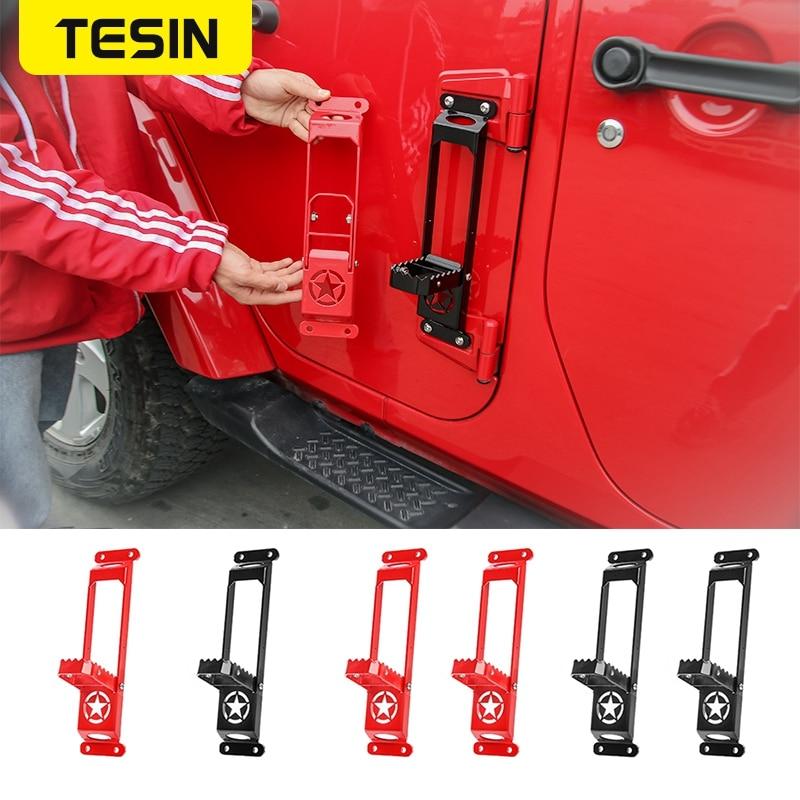 TESIN Car Exterior Door Hinge Panels Foot Pegs for Jeep Wrangler JK JL 2007+ Foot Rest Pedal Steel Climbing Kit For Gladiator JT