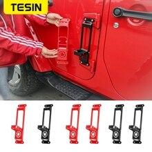 TESIN รถด้านนอกบานพับแผงหมุดเท้าสำหรับ Jeep Wrangler JK JL 2007 + เท้าเหยียบเหล็กปีนเขาชุดสำหรับ Gladiator JT