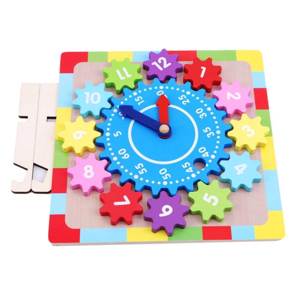 Montessori Cartoon Animal Educational Wooden Gear Block Geometry Digital Clock Puzzles Gadgets Matching Clock Toys For Children