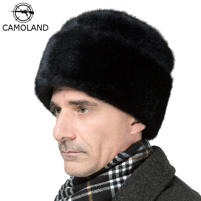 CAMOLAND Mens Winter Warm Hat Russian Ushanka Hats  Faux Fur Protector Ear Cap Male Bomber Hat Black Army Caps