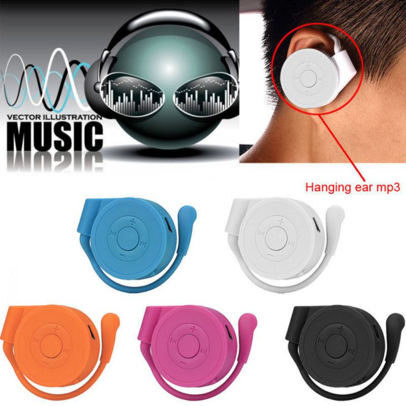 Portable New Trend Hanging Ear Hook MP3 Player Sports Run Player Support Micro TF Card Black White Pink Blue Orange