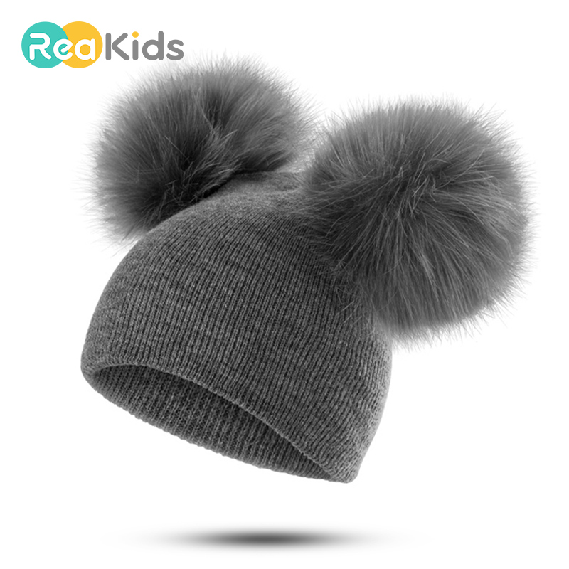 REAKIDS Fashion Baby Hat Knitted Winter Pom Pom Children Hat For Boys Girs Pom Beanies Baby Cute Cotton Cap Warm  Baby Hat