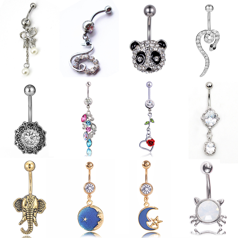 Piercing Ring Belly-Button-Ring Navel Star-Pendant Sexy Jewelry Panda Blue Cute Starry-Sky title=