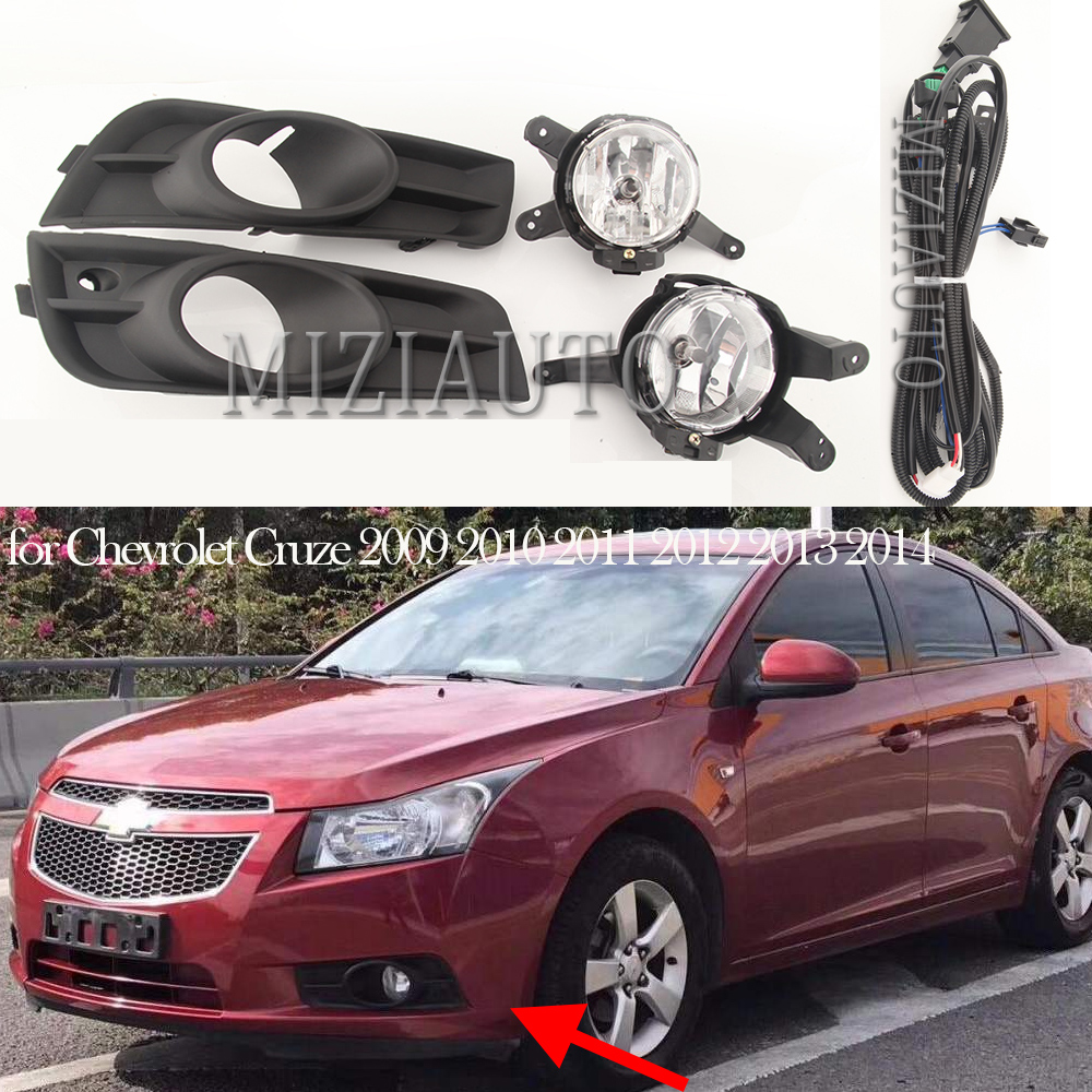 12V Car Fog Lamp Assembly With Fog Light Covers And Wire Relay Switch Button For Chevrolet Cruze 2009 2010 2011 2012 2013 2014