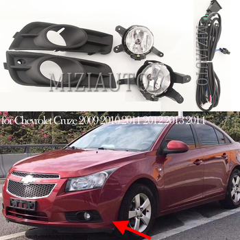цена на Car Fog light Lamps Assembly for Chevrolet Cruze 2009 2010 2011 2012 2013 2014 Fog Lights Covers and Wire Relay Switch Button