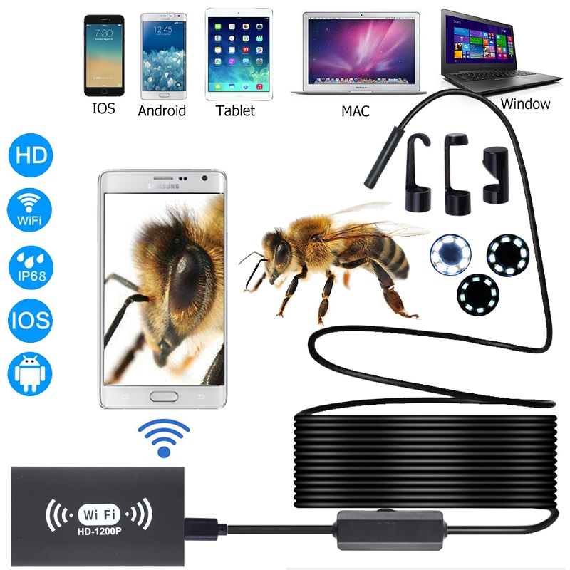 WIFI <font><b>Endoscope</b></font> Camera Full HD <font><b>1200P</b></font> 8mm Len Hard Cable wireless Waterproof Endoscopio inspection borescope For Android IOS PC image