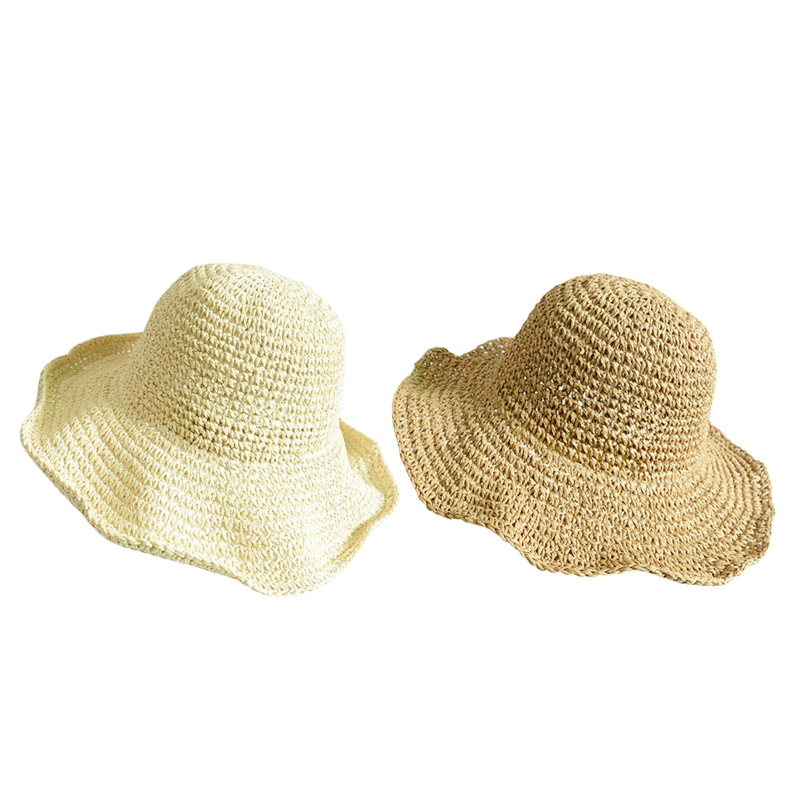 2021 New Girls Hand Made Sun Hat Kids Summer Raffia Straw Hat Big Brim Beach Cap Foldable Breathable Summer Parent-child Hat