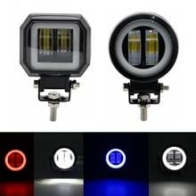 2pcs Round Square Offroad LED Light Bar Spot Beam Spotlight 12V For ATV UAZ SUV 4WD 4x4